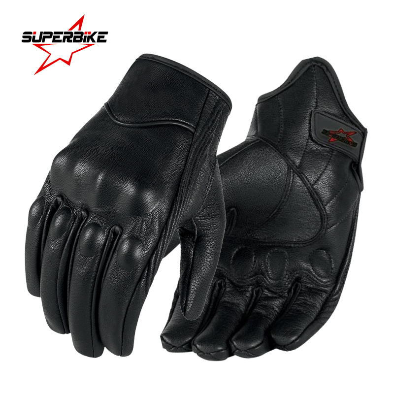 Motorcycle Gloves Leather Touch Screen Men Genuine Goatskin 