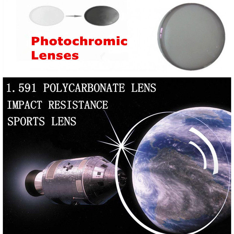 1.591 Index Polycarbonate Photochromic Lenses Prescription Transition Grey Lenses For Myopia/Hyperopia Anti Glare Sunglasses