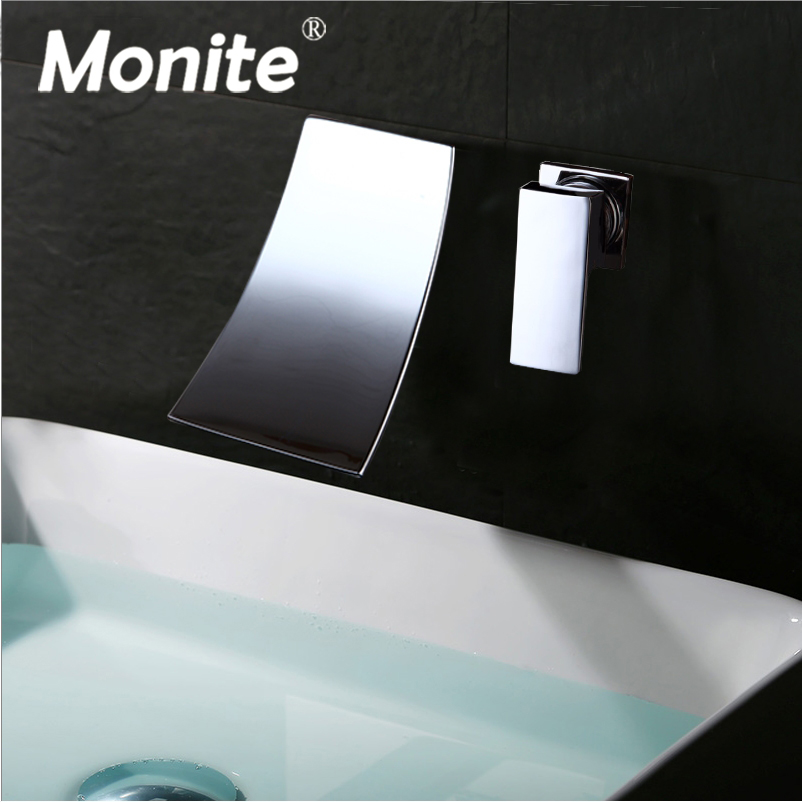Monite Black Painting Wall Mounted Waterfall Spout Chrome Solid Brass Bathroom Basin Sink Faucet Single Handle Mixer Tap chrome finished bathroom sink tub faucet single handle waterfall spout mixer tap solid brass page 1