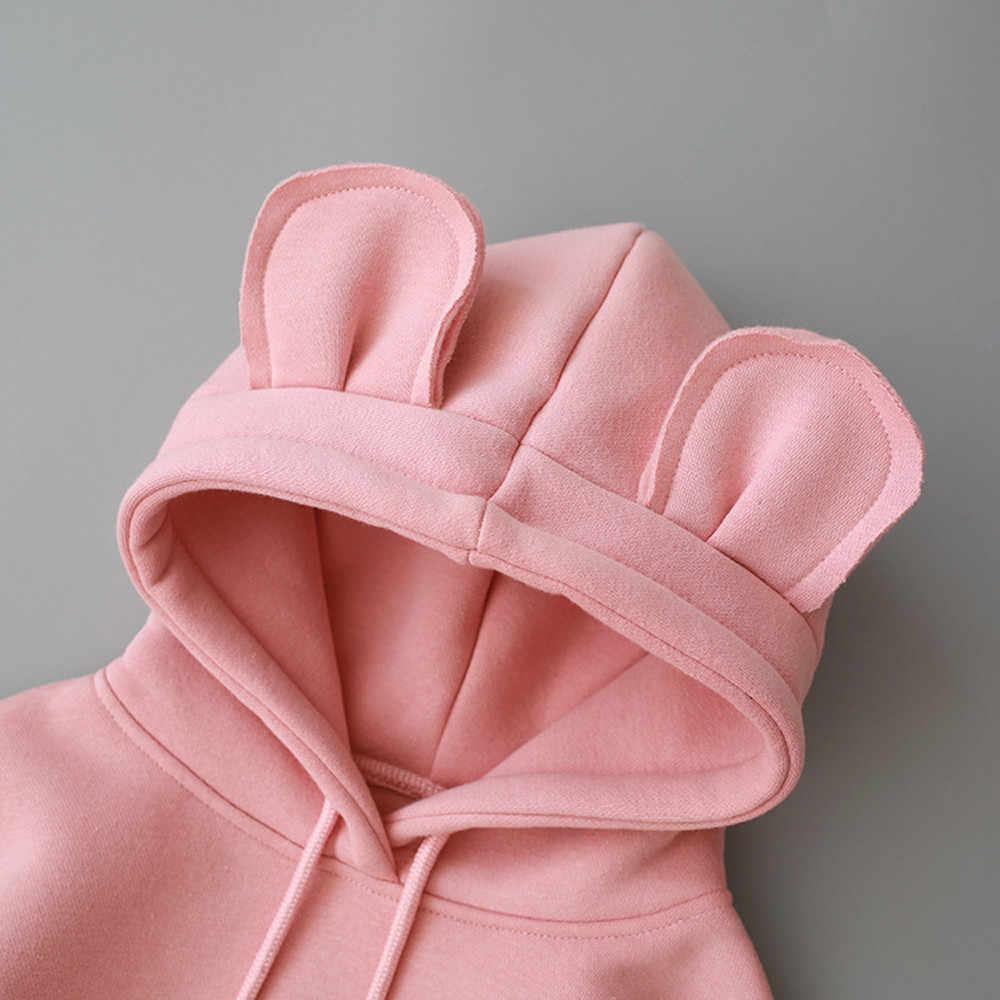 2019 เด็กขนแกะ hooded เสื้อกันหนาวเด็กวัยหัดเดินเด็กทารกเด็กผู้หญิง Hooded การ์ตูน 3D หู Hoodie Sweatshirt Tops เสื้อผ้า
