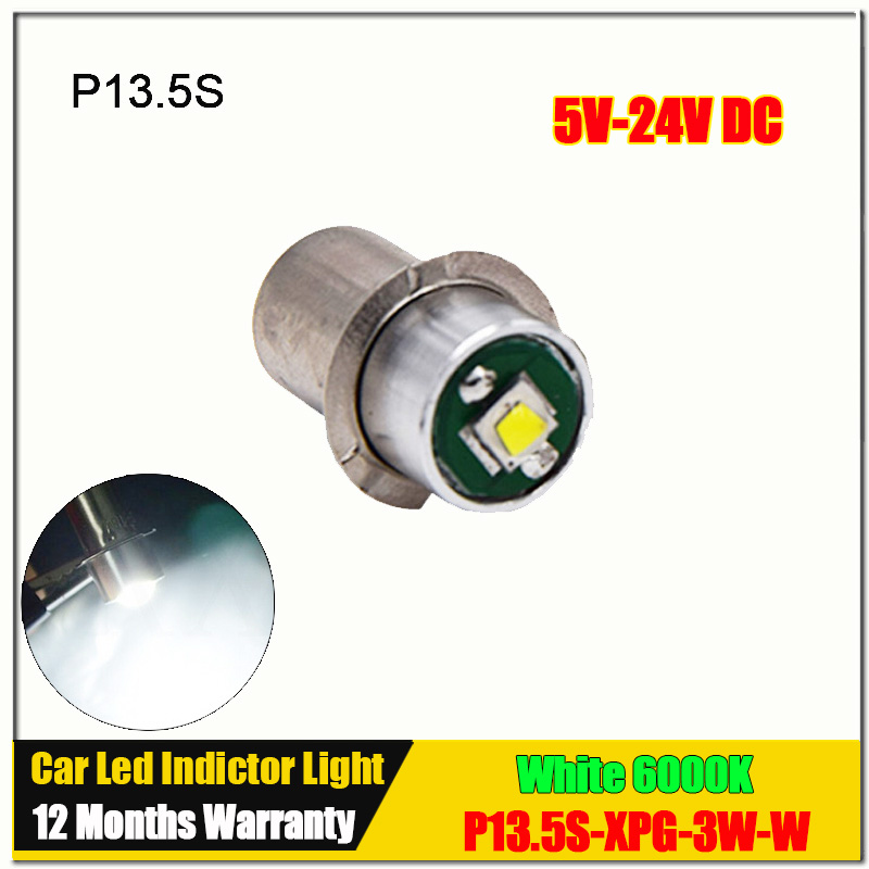 1Pcs LED Bulb P13.5S XPG2 3W Flashlight Bulb Emergency Light LED 5V-24V DC LED Replacement Flashlight Bulbs Free Shipping