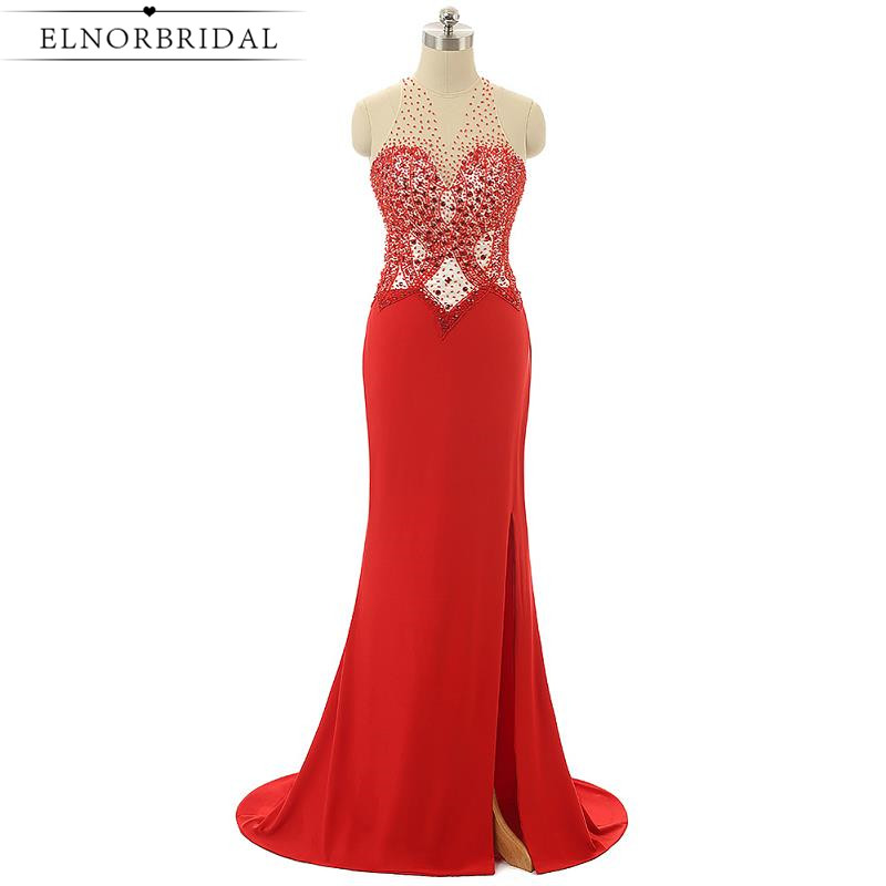 Red Beading Prom Dress Mermaid 2017 Side Split Long Imported Party Dress Sheer Special Occasion Celebrity Gowns For Evening