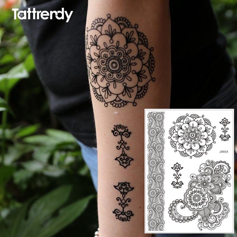 Flash Henna Tattoo Temprary Stickers Black Waterproof On