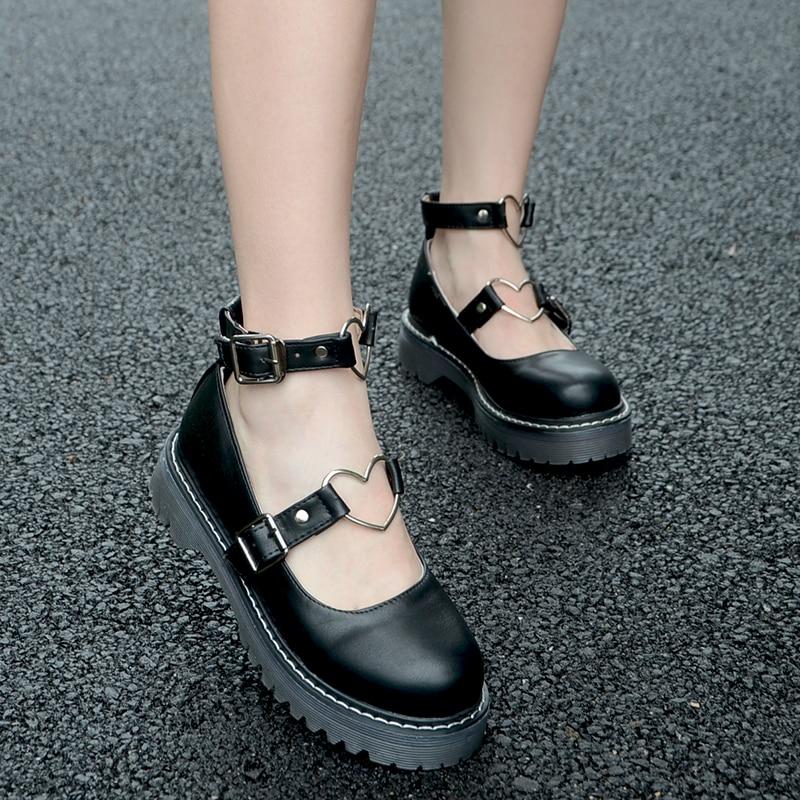 Dropship Student Shoes College Girl LOLITA Shoes Cosplay JK Uniform Women Flats PU Leather Heart-shaped Platform Shoes