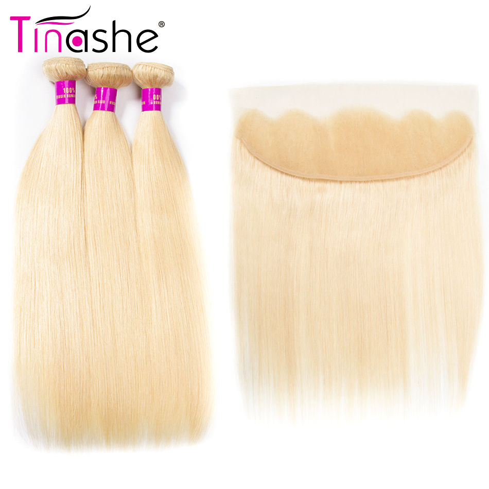 Tinashe волосы светлые Связки с фронтальной Европейский прямые волосы 3 Связки с фронтальной человеческих волос 613 Связки с фронтальной