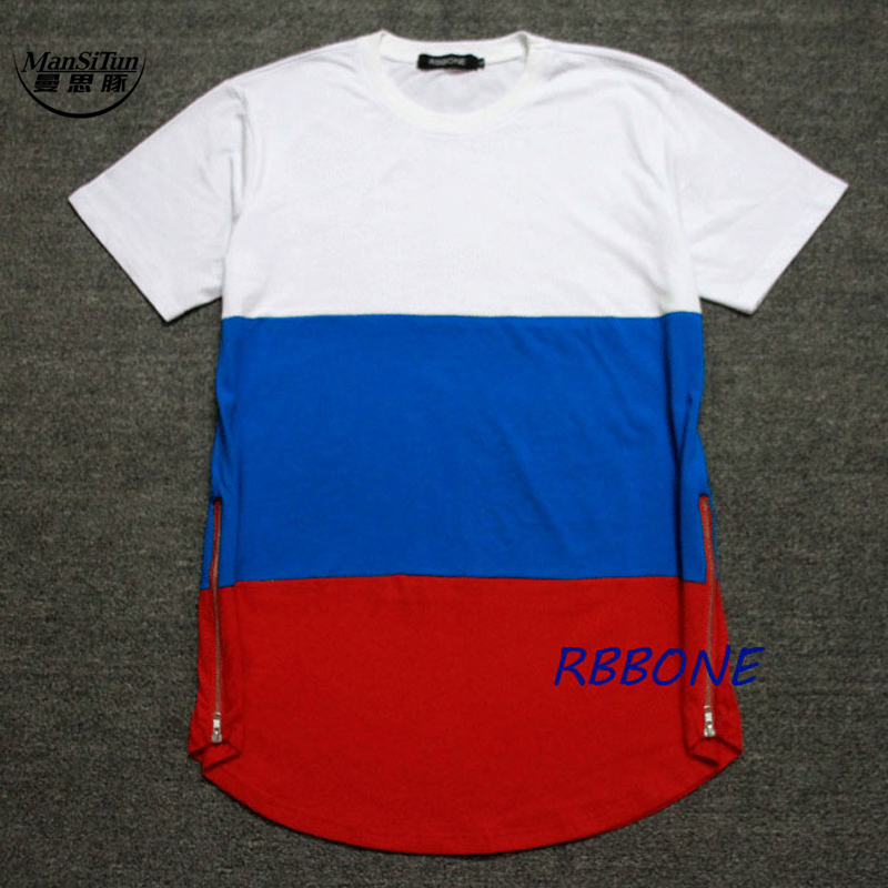 Man Si Tun Fashion Show Celebrity Men t shirts golden zip Hiphop KTZ jay-z Breathable Cotton Patchwork extended drop T shirt Man
