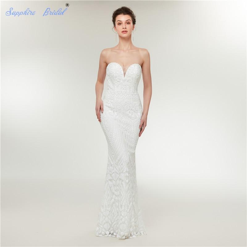 Saphir Sparkly Einfache Lace Brautkleider 201 Kleider De White Vestido Novia Braut Hochzeit champagne Mermaid Sequind Ärmellose r7Bqn1rxw