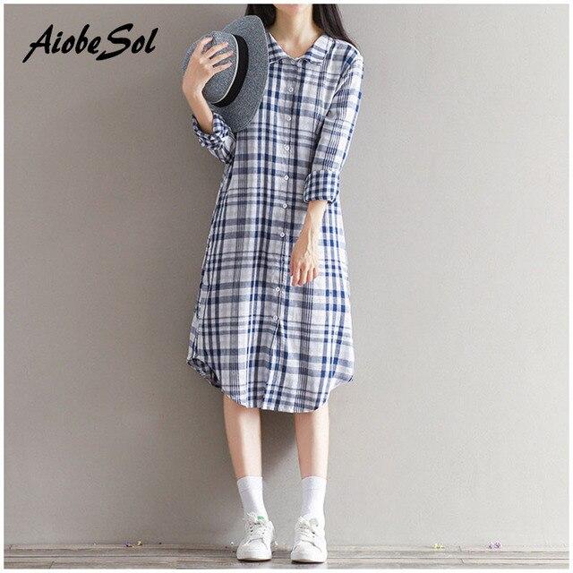 612f30c5 Mori Girl Style Dress Autumn Winter Women Plaid Lliterary Long Sleeve  Cotton Linen Shirt Dress Plus Size Loose Bottom Vestidos