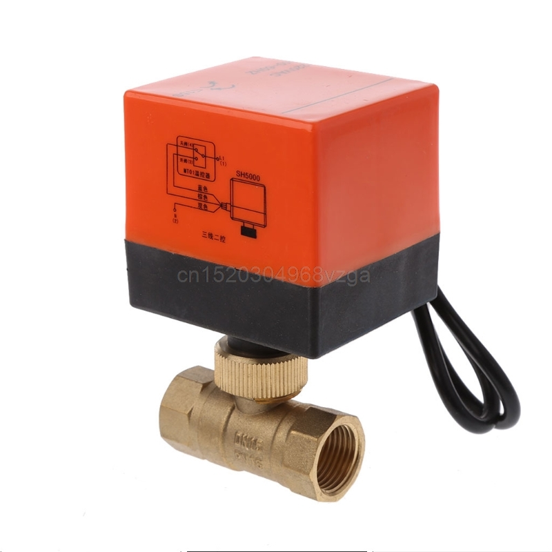 Electric Motorized Brass Ball Valve DN15 AC 220V 2 Way 3-Wire with Actuator J11 dropshipping dn15 g 1 2 ac220v 2 way 3 wire motorized brass ball valve with electric actuator controller