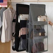 New Arrival Practical 6 Pockets Clear Hanging Purse Handbag Tote Bag Storage Organizer Closet Rack Bag