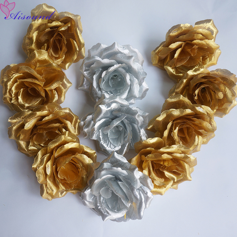 50pcs 10cm Silk Rose Flower Heads Silver & Gold Flowers For Wedding Decoration Decorative Flowers & Wreaths Christmas Supplies
