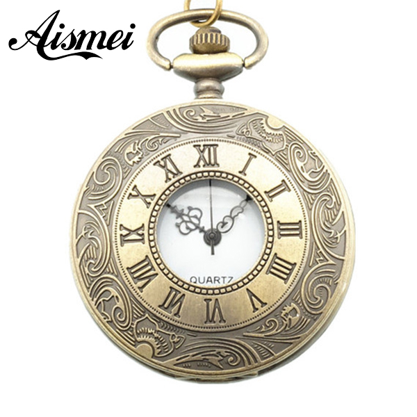 Big Golden Roman Numerals Dial Pocket Watch Vintage Steampunk Style Pocket Watch Necklace&Pendant and Chain Clock Hour bronze roman pocket watch antique numerals chain necklace pendant quartz lxh