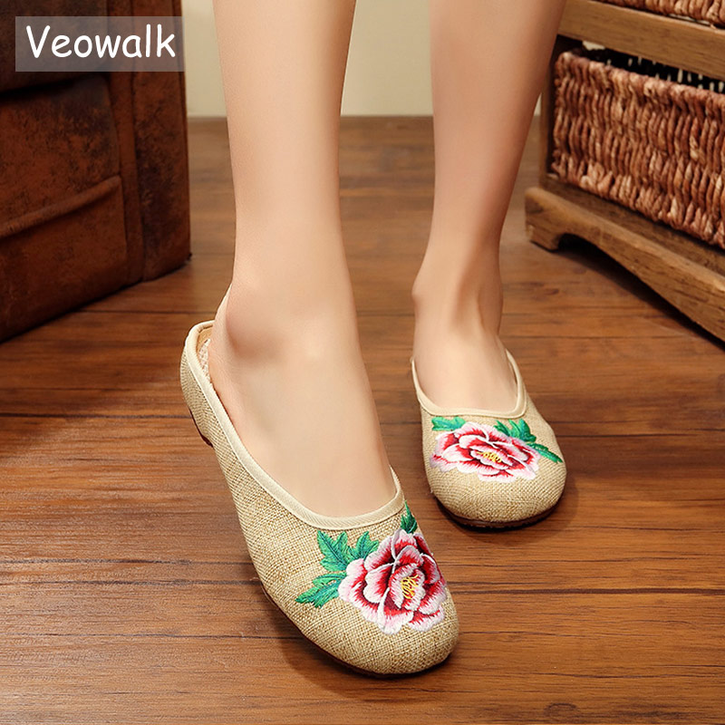 Veowalk Flowers Embroidered Women Linen Cotton Fabric Summer Slippers Handmade Retro Ladies Casual Breathable Canvas Slide Shoes