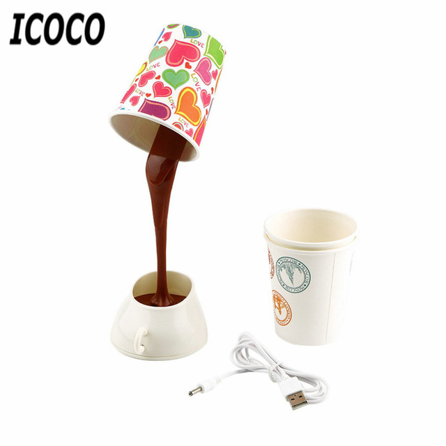 Lovely Home Creative DIY Coffee Cup LED Down Night Lamp Home USB Battery Pouring  Coffee Table Light