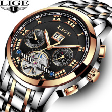 2018 New LIGE Brand Gold Watch Man Top Luxury Automatic Mechanical Watch Men Stainless Steel XFCS Men Watches Relogio Masculino guanqin top brand luxury watch men automatic date full stainless steel watch man fashion mechanical watches relogio masculino