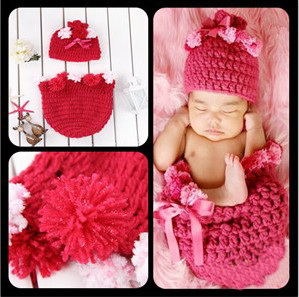 Free Shipping,Crochet Cocoon And Beanie Hat Set Newborn Red Sleeping Bags Hand Crocheted Baby Swaddle Cuddle Sack Photo Prop