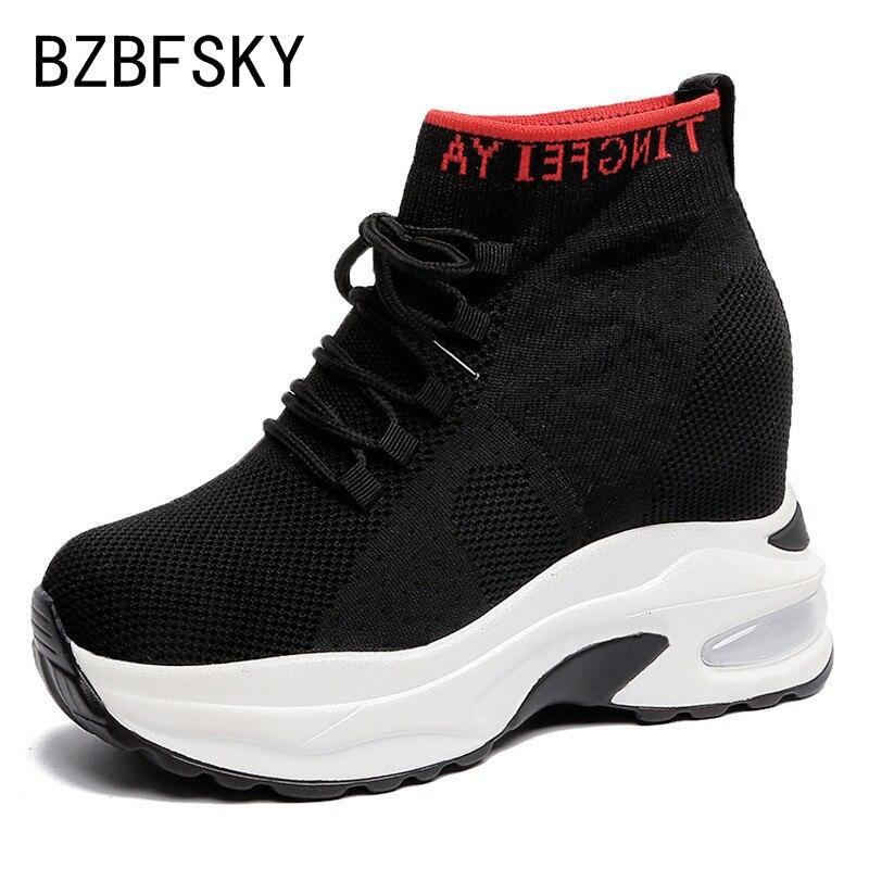 BZBFSKY femmes baskets Stretch chaussettes chaussures printemps automne saison nouvelles chaussures de loisirs rouges chaussures augmentées chaussures en toile épaisse