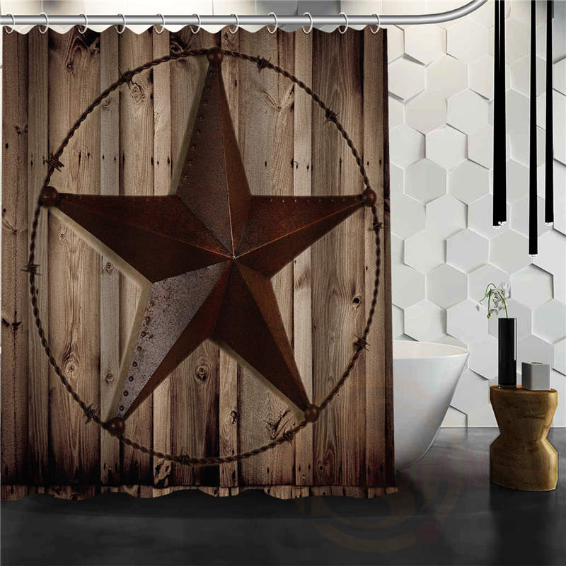 Best nice custom texas star shower curtain bath curtain for Star material for curtains