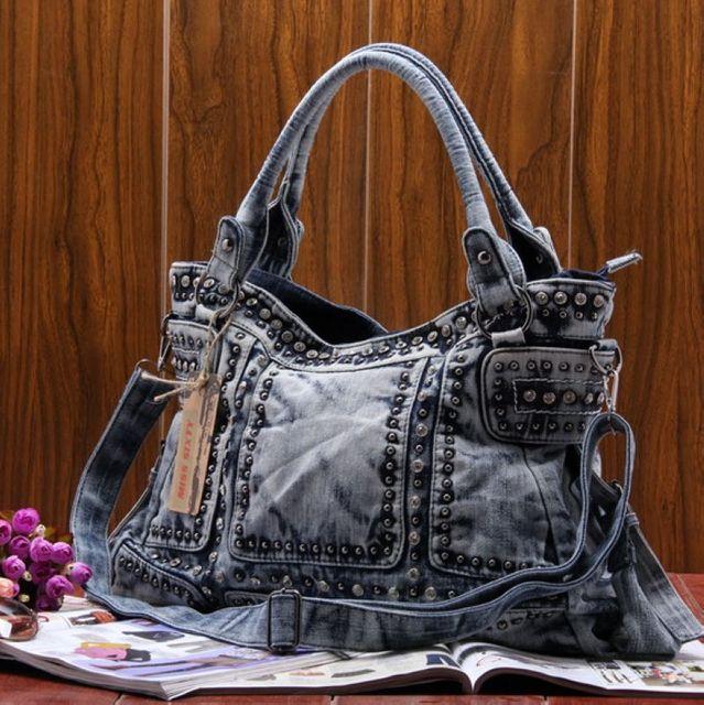 2017 New Fashion Rivet Women jean Baghandbag ,ladies' cool Denim bagshoulder bagMessenger Bag~13B140