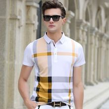 2016 Summer Men Polo Shirts Plaid Patchwork Short Sleeve Cool Mercerized Cotton Slim Fit Casual Business Men Shirts Luxury Brand