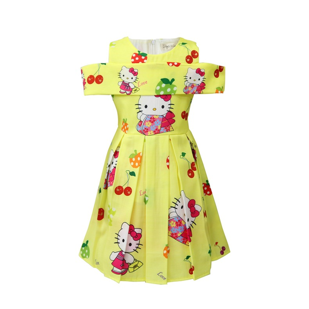 2018 New Summer Children Hello Kitty Cartoon Princess Dress Costume for Baby Girls Clothes Party Dresses Kids Cat Dress 3-10Y hello kitty kids watches girls children pink dress wrist watch cute child cartoon silicone baby clock saat relogio montre enfant