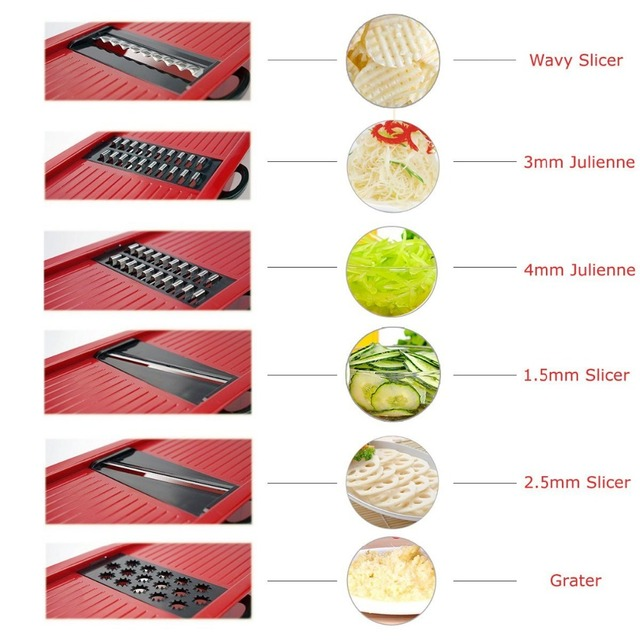 6 in 1 Vegetable Chopper Multi-Functional Grater Vegetable Cutter Sets Food Container Shredders Slicers Kitchen Accessories 4