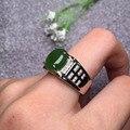 10*8mm anel dos homens 925 sterlingsilver anel clássico e elegante jadeíta jade verde para as mulheres à venda fne jóias