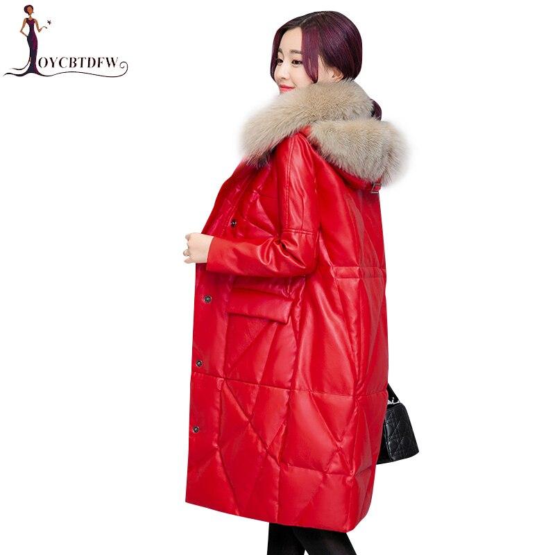 Femmes red Coton Survêtement 2018 Le temperament Hiver Parka Vers De Feminino Renard Cuir Nouvelle X413 Black Pu Ash Fourrure Manteau coréen Veste Faux Classic En Bas Col wffqFxXC