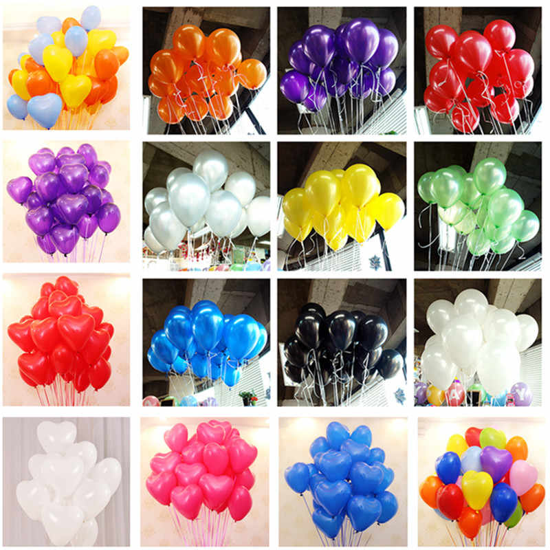 10pcs 10inch 1.5g Black Latex Balloons Heart Latex Helium Inflatable Wedding Decorations Air Balls Happy Birthday Party Balloons