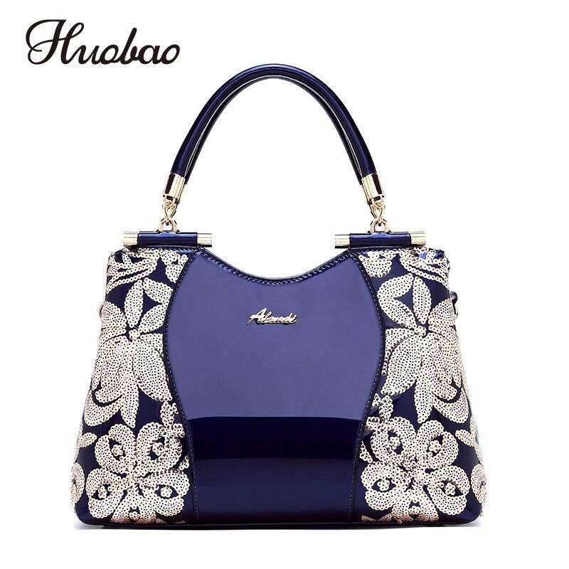 2018 New Women Patent Leather Handbags Sequin Embroidery luxury Shoulder Crossbody Bag Famous Brand Designer Women