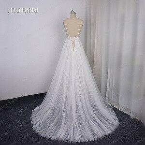 Image 2 - Boho ışık düğün elbisesi parlak sparkly tül plaj gelin kıyafeti yeni stil