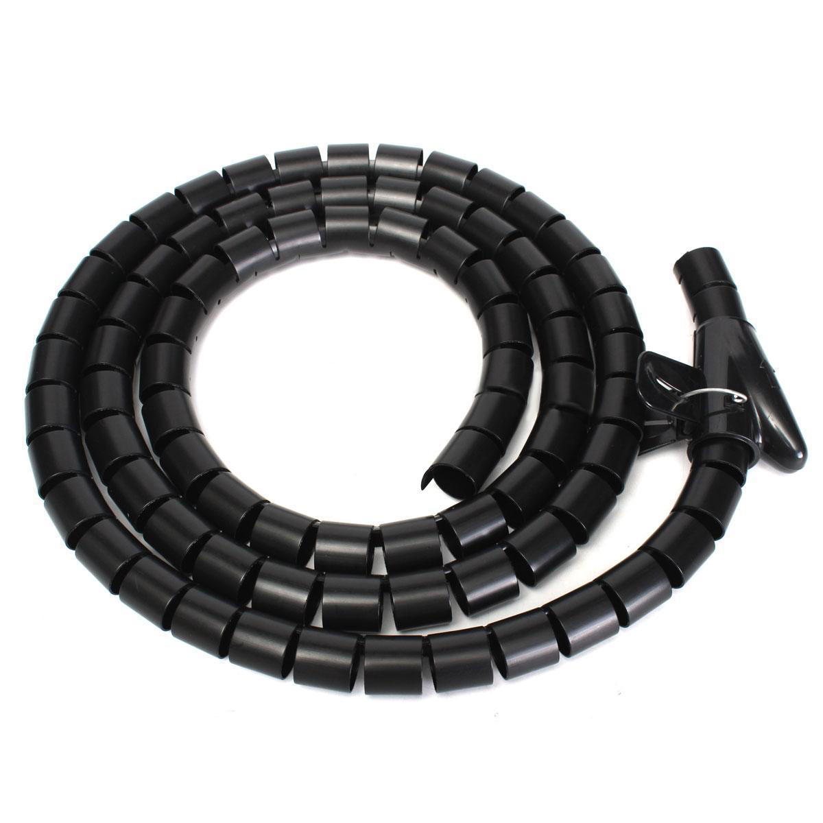 1pc 25mm Spiral Wrapping Band 2m Black Cable Tidy Cord Wire Banding ...
