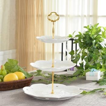 1 Juego de mango de plato de cocina de fruta de aleación de Zinc, bandeja de 2/3 niveles para pastel, bandeja para cupcakes