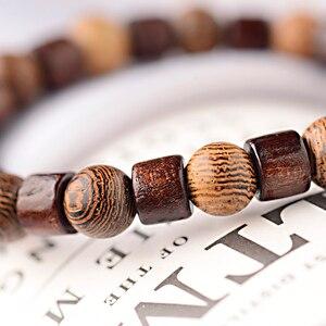 Image 5 - OIQUEI 8mm naturalny okrągły Cylinder bransoletka z koralików z drewna mężczyźni klasyczna elastyczna buddyjska modlitwa bransoletka buddy Hommes bileklik bijoux