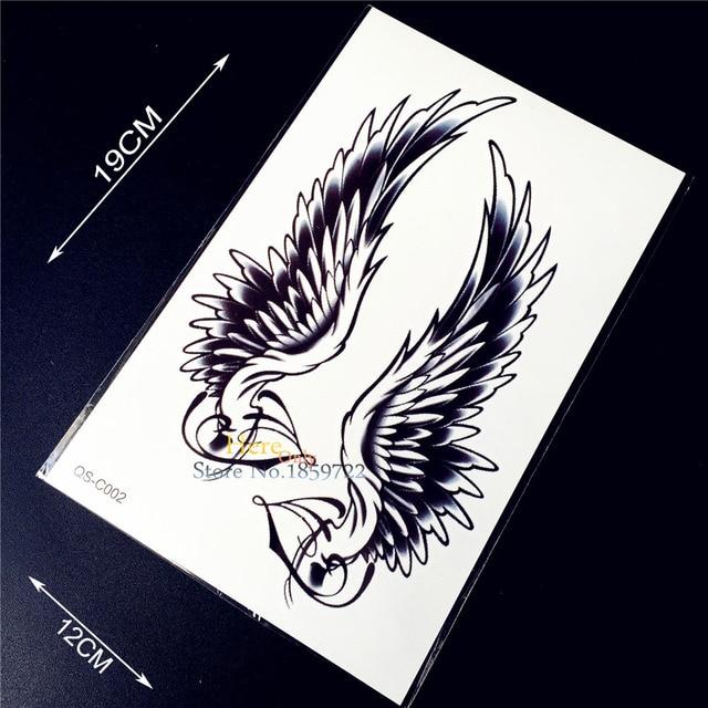 1PC Flying Black Angel Wings Tattoo Henna Design Paste HQS-C51 Sexy Women Flash Waterproof Temporary Tattoo Body Arm Fairy Tatoo