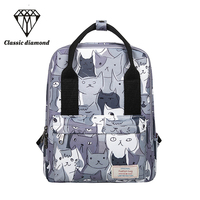 Backpack Women Design Cat Animal Printing Backpack Teenage Girls School Bag Travel Bag Large Capacity Small Backpacks Female