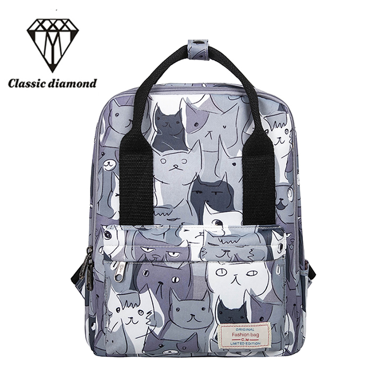 Backpack Women Design Cat Animal Printing Backpack Teenage Girls School Bag Travel Bag Large Capacity Small Backpacks Female