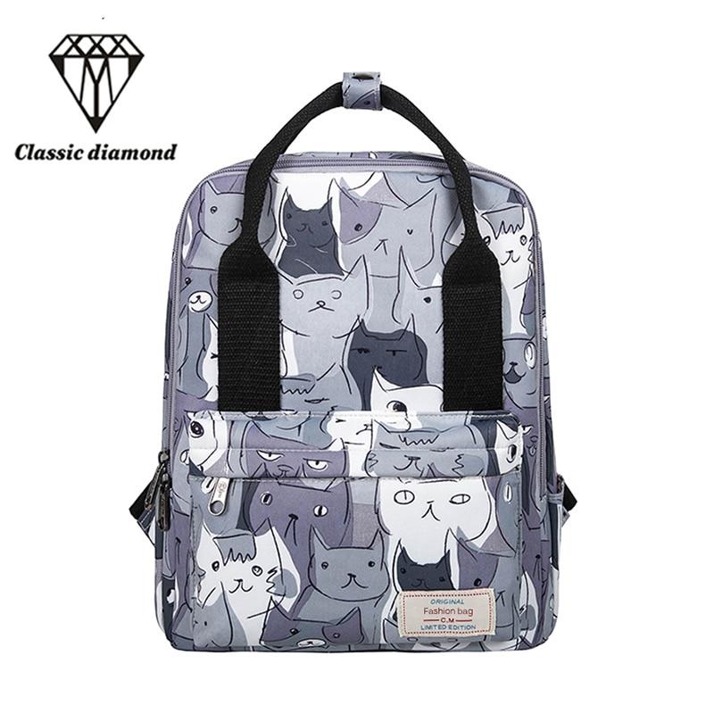 Sırt çantası Kadın Tasarım Kedi Hayvan Baskı Sırt Çantası Genç Kız Okul Çantası Seyahat Çantası Büyük Kapasiteli Küçük Sırt Çantaları Kadın