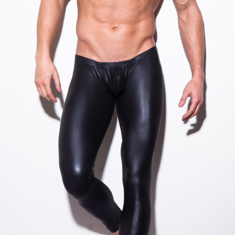 Men's Faux Leather Pouch Long Pants Strech Man Club Dance Pants Muscle Tights Leggings Black Long Trousers Clubwear