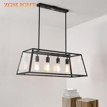 Vintage LED E27 Industrial forjado creativo Simple candelabro rectangular acrílico caja restaurante café sala de estar lámpara colgante