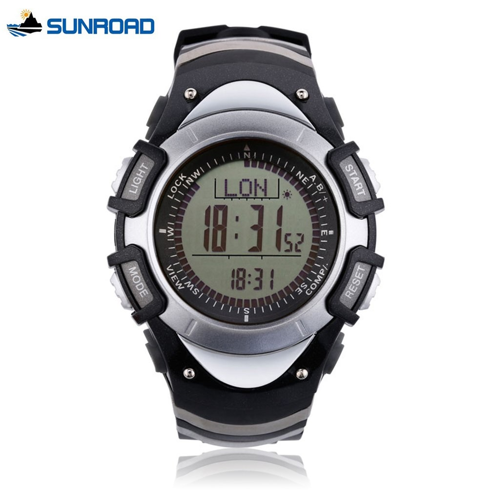SUNROAD Sports Watch Mens 3Bar Waterproof Resin Fishing Watches Outdoor Compass Backlight Stopwatch Altimeter Clock Wristwatches