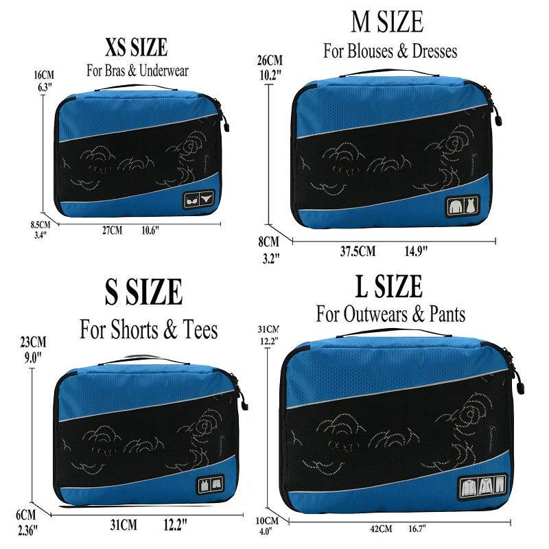 Soperwillton упаковочные кубики, нейлоновая дорожная сумка-Органайзер, Воздухопроницаемая сетчатая дорожная сумка для мужчин и женщин, органайзер для путешествий - Цвет: Blue XS-S-M-L