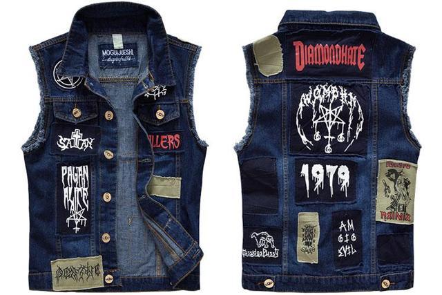 4abe647cfe9 Для мужчин печати джинсовый жилет Нашивки Вышивка синий жилет Байкер  Мотоцикл Slim Fit Жилет