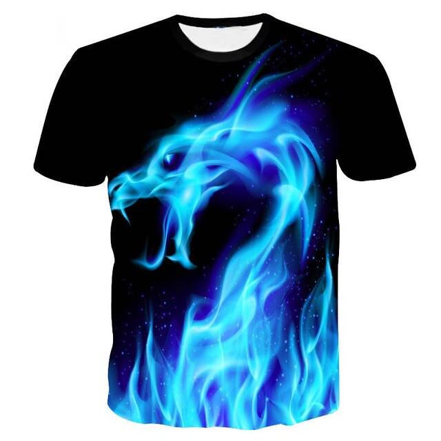 Blue Fire Dragon Printing 3D T Shirt Men T-shirt Summer Hip Hop Brand Men s e1e2d6561