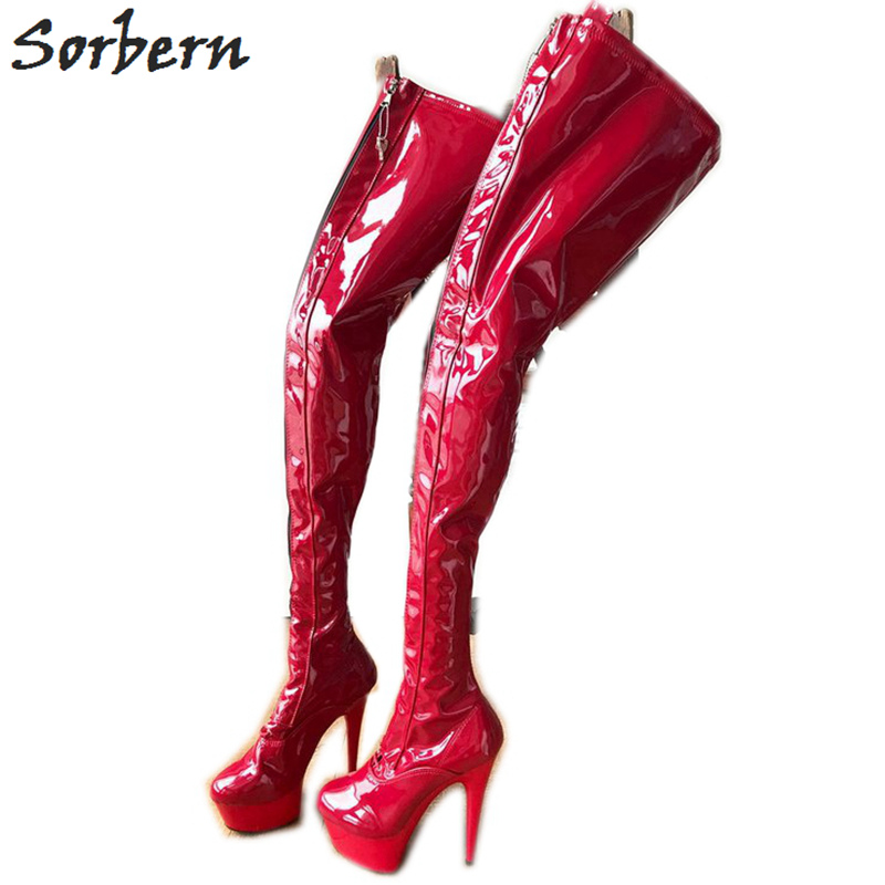 de99ef3510be Sorbern Matte Pu Over The Knee Boots For Women 15Cm Plus Size Thigh High  Boots Custom Size 10 Black Heel Boots Gothic Style - aliexpress.com -  imall.com