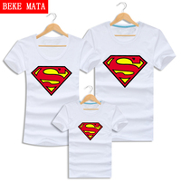Superman Family Matching Outfits 2016 Summer Cotton Mother Daughter Clothes Family Look Clothing Short Sleeve Couple