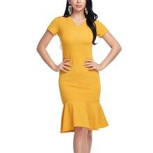Для женщин пикантные Трубы платье Bodycon летнее работы Платья для женщин Весна Большие размеры Винтаж с открытыми плечами Vestidos короткий рукав модная желтая