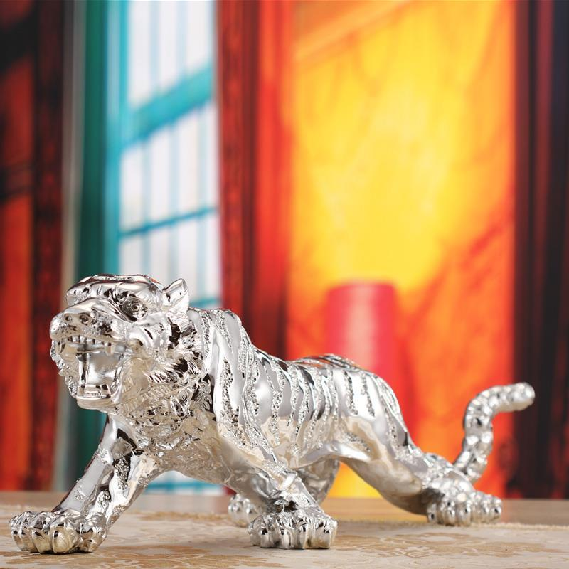 Tiger Sculpture Statue Business Gifts Lucky Crafts Living Room Office Creative Home Decor Ornament Resin Figure In Statues Sculptures From