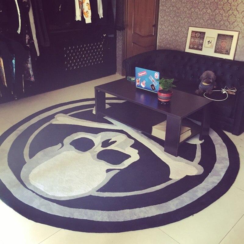Haute qualité acrylique fibres crâne rond tapis tendance mode noir et blanc salon chambre tapis luxueux vestiaire tapis