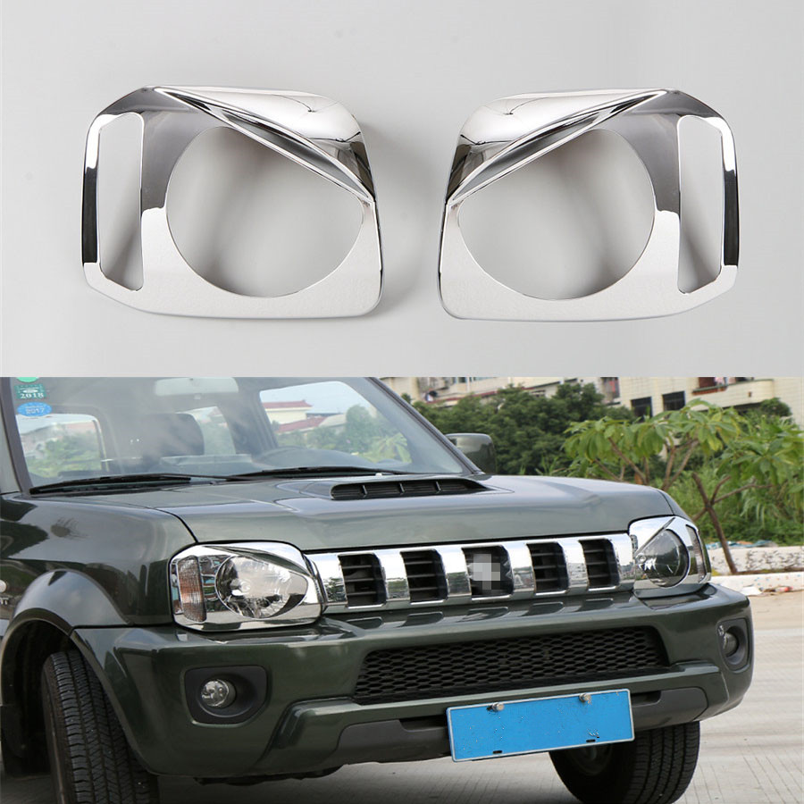 For Suzuki Jimny 2012 2015 Exterior Car front head light Lamp Bezel Ring Decoration Frame Case Cover Trim Styling 2Pcs ABS